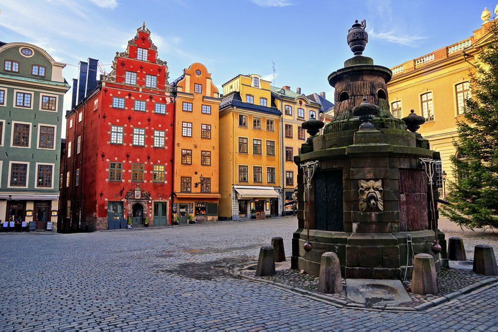 Colorful buildings of Stortorget, the main square in Gamla Stan,